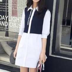 Mukouf - Lettering Color Panel 3/4 Sleeve Shirtdress