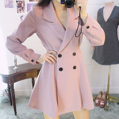 chuu - Peaked-Lapel A-Line Mini Coatdress