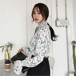 QNIGIRLS - Smocked Tie-Neck Floral Print Top