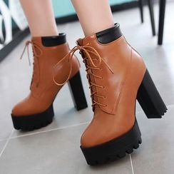 Gizmal Boots - Chunky Heel Platform Lace-Up Short Boots