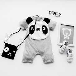 MOM Kiss - Baby Panda Applique One Piece