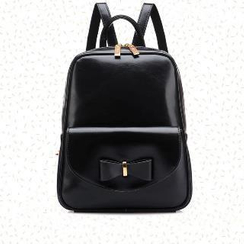 BeiBaoBao - Faux-Leather Bow-Accent Backpack