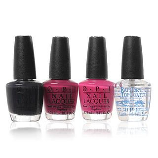 O.P.I - Senoritas Mini Set: Blue Grey 3.75ml + Hot Pink 3.75ml + Luscius Berry 3.75ml + Top Coat 3.75ml