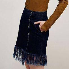 Obel - 流蘇下擺鈕扣短裙