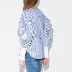 Obel - Pinstriped Puff-sleeve Blouse