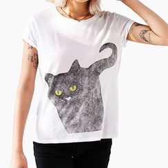Obel - Cat Print Short-Sleeve T-Shirt