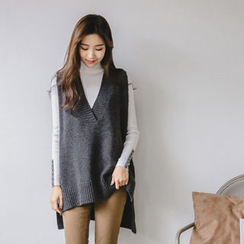 JUSTONE - Sleeveless Dip-Back Wool Blend Knit Top