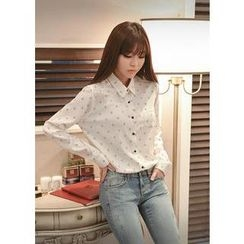 Bongjashop - Cat Pattern Chiffon Blouse