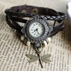 Miss Girl - Dragonfly-Charm Woven Strap Watch