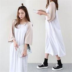 PINKSISLY - Raglan-Sleeve Shift Maxi Dress