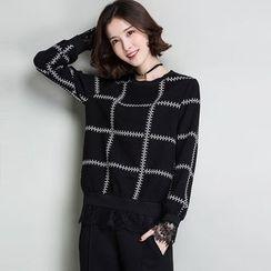 Romika - Plaid Lace Panel Sweatshirt