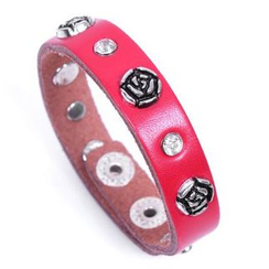 KINNO - Rose Stud Genuine Leather Bracelet