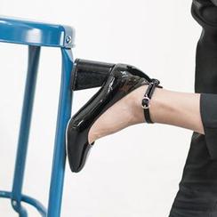 VIVIER - Ankle-Strap Patent Pumps