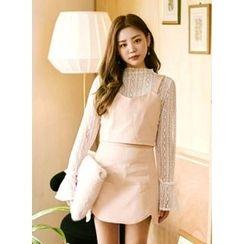 icecream12 - Band-Waist A-Line Mini Skirt