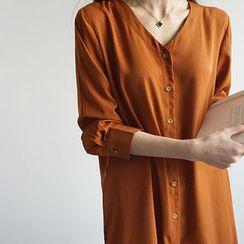 STYLEBYYAM - V-Neck Slit-Side Shirtdress
