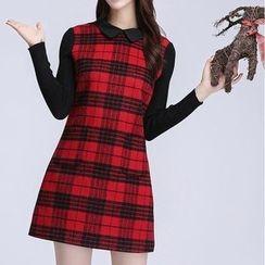 AiLiTi - Check Collared Shift Dress