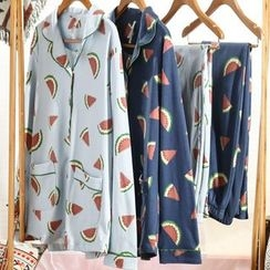 Hodohome - Pajama Set: Watermelon Print Shirt + Pants
