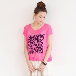 SO Central - QR Code Print Open Knit Top