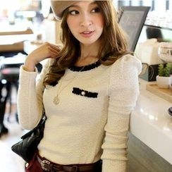Tokyo Fashion - Long-Sleeve Contrast-Trim Buttoned Top