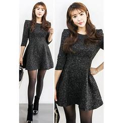 INSTYLEFIT - 3/4-Sleeve Tweed A-Line Mini Dress