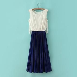 JVL - Sleeveless Color-Block Pleated Dress