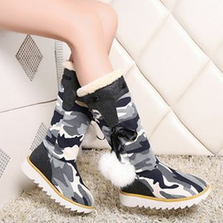 Pretty in Boots - Bobble Camouflage Mid Calf Snow Boots