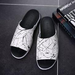 Hipsteria - Marble Print Slide Sandals