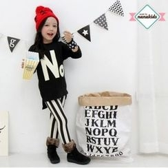 nanakids - Girls Set: Lettering Brushed-Fleece Lined Pullover + Leggings