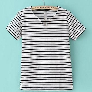 JVL - Short-Sleeve Notched-Neck Striped T-Shirt