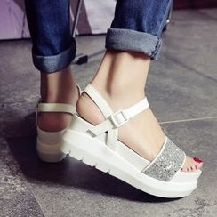 Pastel Pairs - 亮片厚底凉鞋