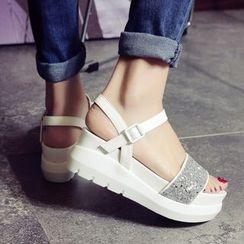 Pastel Pairs - Sequined Platform Sandals