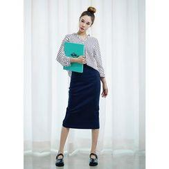 COII - Slit-Back Long Denim Pencil Skirt