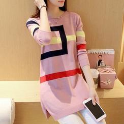 Ageha - Long-Sleeve Color Block Knit Dress