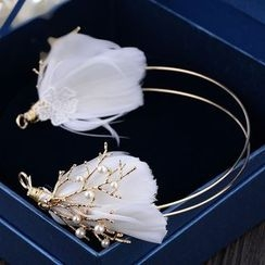 Ashmi - Bridal Feather Faux Pearl Headband