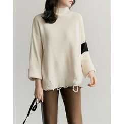 UPTOWNHOLIC - Turtle-Neck Distressed Knit Top
