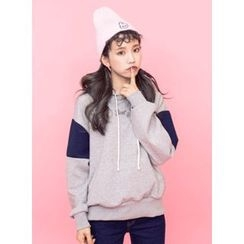 icecream12 - Color-Block Hooded Pullover