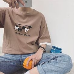 Soulcity - Cow Print Elbow Sleeve T-Shirt
