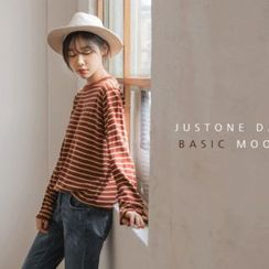JUSTONE - Long-Sleeve Striped Knit Top
