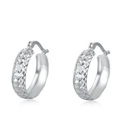 MaBelle - 14K White Gold Diamond-Cut Band Creole Hoop Earrings (15MM)