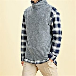 THE COVER - Turtle-Neck Knit Vest