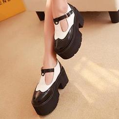 Mancienne - Color-Block Platform Chunky Heels