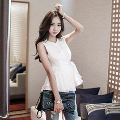 WHITE FOX - Sleeveless Wrap-Front Top