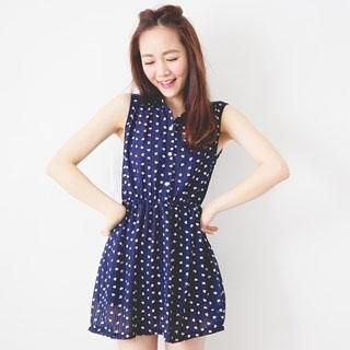 D.P-Shop - Drawstring Heart-Print Dress