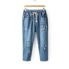 Tangi - Embroidered Cropped Jeans
