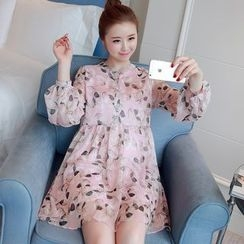 Hearty Bliss - 孕婦長袖雪紡連衣花裙