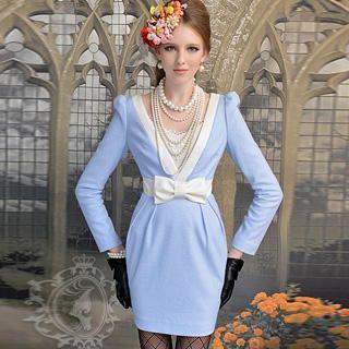 Dabuwawa - Wool-Blend Bow-Accent Contrast-Trim Sheath Dress