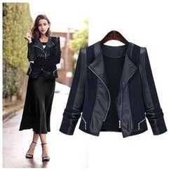 GRACI - Paneled Faux Leather Biker Jacket
