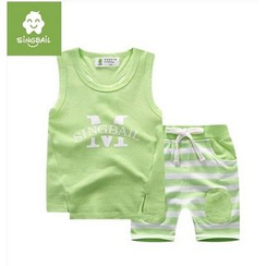 Endymion - Kids Set: Lettering Tank Top + Stripe Shorts