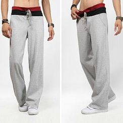 Fireon - Contrast Trim Drawstring Sweatpants