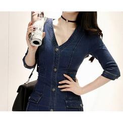 Marlangrouge - 3/4-Sleeve Denim Mini Dress